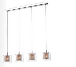 Eastcote Polished Chrome and Copper 4 Light Bar Pendant - ID 8786