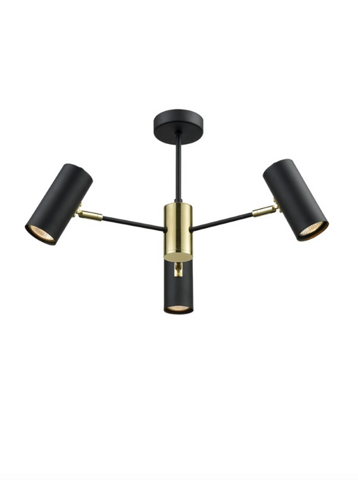 Halstow 3 Arm Semi-Flus Ceiling Light In Black & Gold - ID 8926