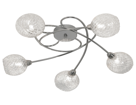 Acorn Chrome & Glass 5 Arm Ceiling Light - ID 6301