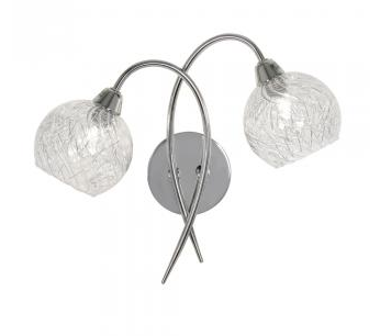 Acorn Chrome & Glass Twin Wall Light - ID 9256