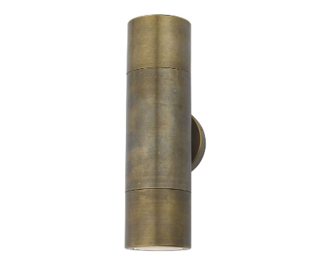 Tyndrum Brushed Antique Brass Finish Solid Brass Up/Down Outdoor Wall Light - ID 9488