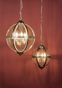 Cannich 5 Light Orb Lantern Pendant In Polished Nickel And Clear Glass - ID 9456