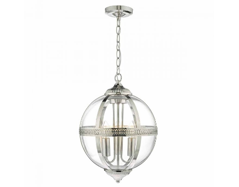Cannich 3 Light Orb Lantern Pendant In Polished Nickel And Clear Glass - ID 9504