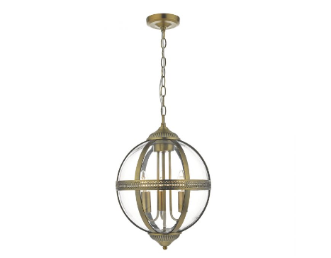 Cannich 3 Light Orb Lantern Pendant In Antique Brass And Clear Glass - ID 9505