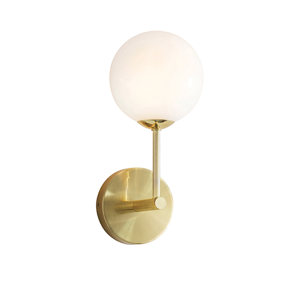 Aultbea Brushed Brass & Opal Glass 1 Light Wall Light - ID 9650