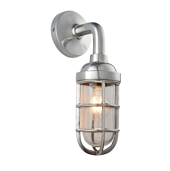 Shandwick Polished Aluminium Industrial Style Wall Light - ID 9652