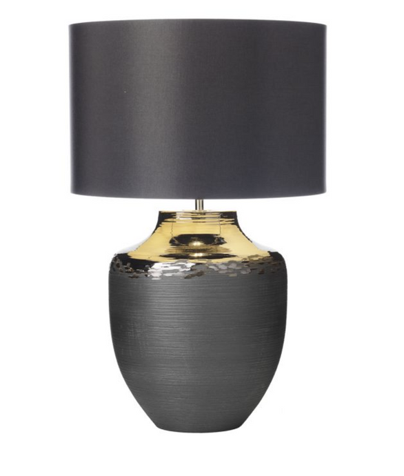 Handmade Ceramic & Bronze Table Lamp With Dark Grey Satin Drum Shade - ID 8170