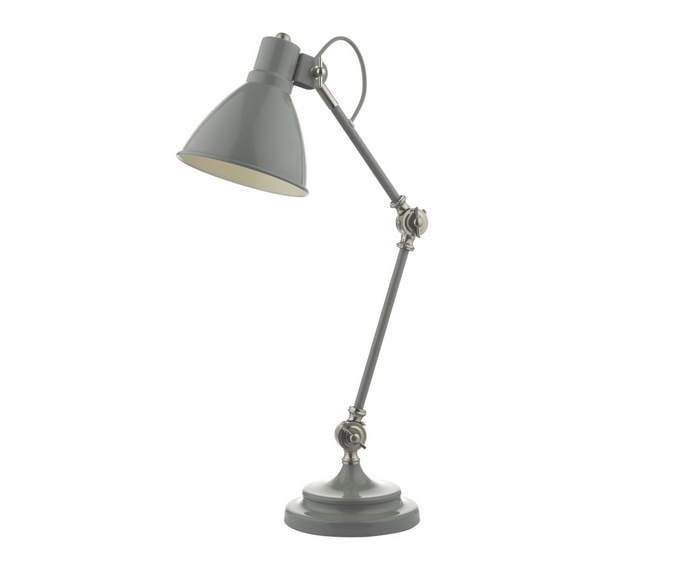 Grey and Satin Nickel Desk Lamp - ID 8591