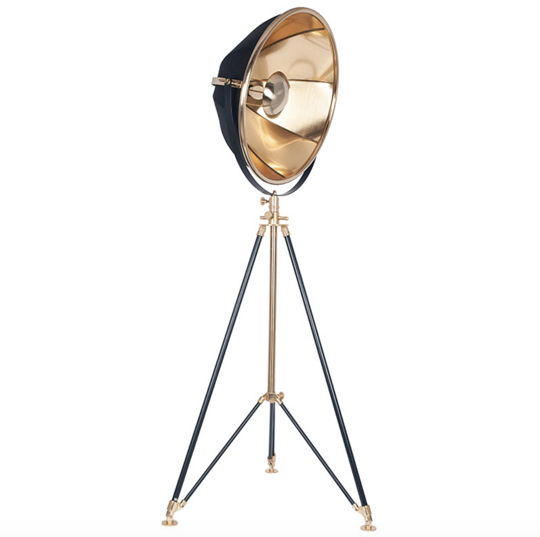 Black and Gold Theatre Tripod Floor Lamp - ID 10283