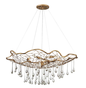 Dew Brushed Gold Organic Chandelier - ID 10289