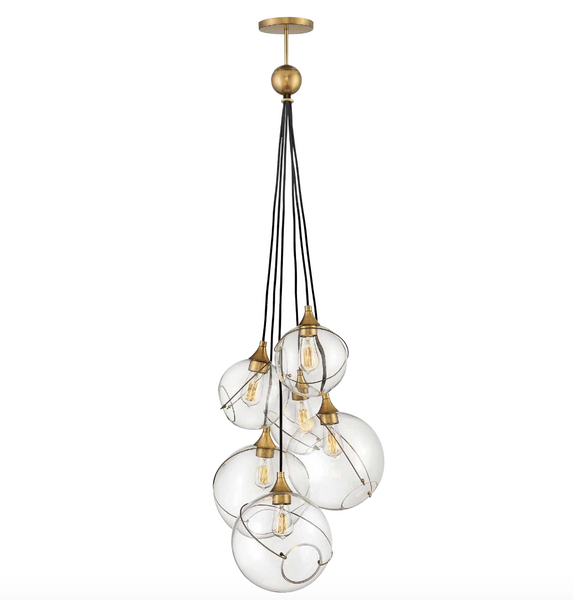 Asym Staggered Globe Cluster Chandelier - ID 10292