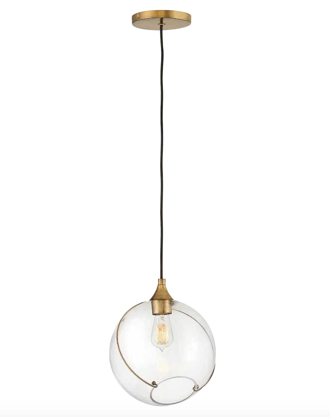 Asym Round Glass Brass Single Pendant - ID 10293