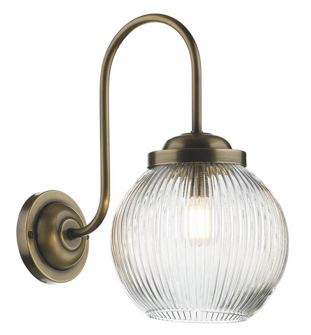 Cam 2 Antique Brass Swan Neck Wall Light with Prismatic Globe - ID 10328