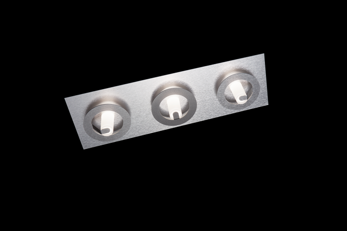 Grossmann Q Three Lamp Wall / Ceiling Light In Aluminium & light Grey - ID 10525