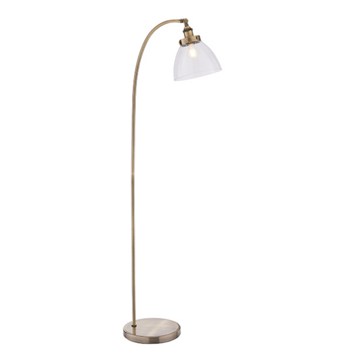 Antique Brass Floor Lamp with Clear Glass Shade - MBL ID 10410