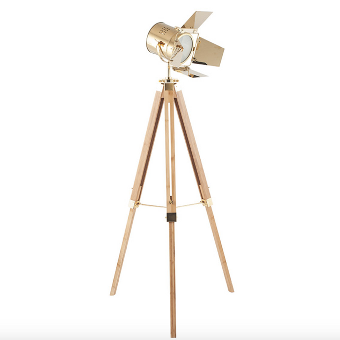 Natural Wood Tripod Floor Lamp with Gold Head - ID 10668