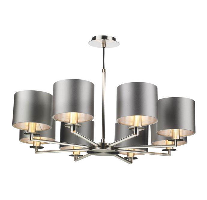 Homerton 8 Light Pendant In Satin Nickel - ID 8682