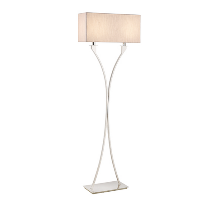 Chrome Twin Stem Floor Lamp with Shade - ID 10406