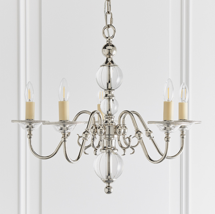 Polished Nickel Flemish Style 5 Arm Chandelier - ID 10814