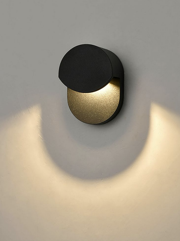 AUR Compact Hooded Matt Black Outdoor Wall Light - ID 10815
