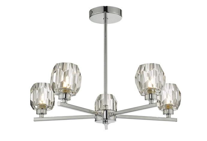 LEN 5 Light Chrome and Glass Semi Flush Ceiling Light ID - 10914