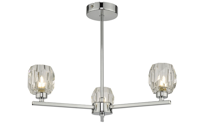 LEN 3 Arm Semi Flush Polished Chrome and Glass Ceiling Light - ID 10915