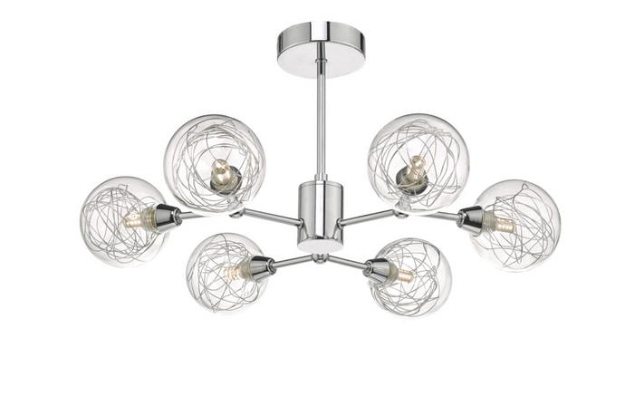 LEN 6 Arm Polished Chrome and Glass Semi-Flush Ceiling Light - ID 8449