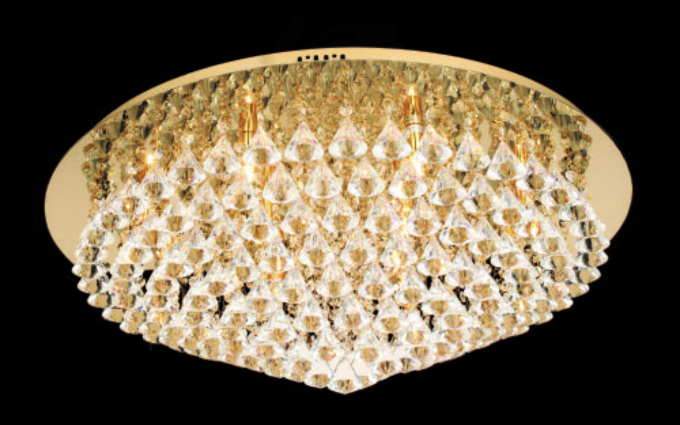 12 Lamp Flush Crystal & Chrome Ceiling Light In Gold - ID 8980