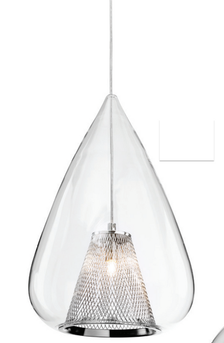 Clear Glass & Chrome Mesh Single Pendant - ID 8778