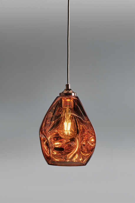 Hague Spun Glass Single Pendant In Copper - ID 9097