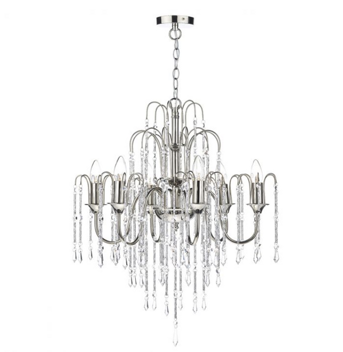 Polished Nickel 6 Light Chandelier with Crystal Beads - ID 5076