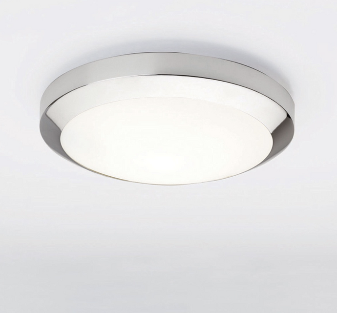 Polished Chrome & Frosted Glass Flush Ceiling Light - ID 2982
