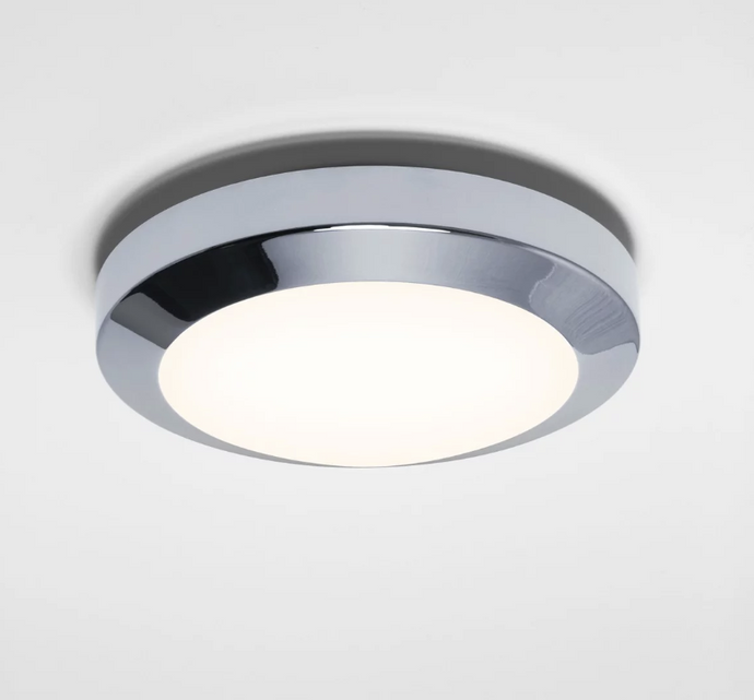 Compact Polished Chrome & Frosted Glass Flush Ceiling Light - ID 2449