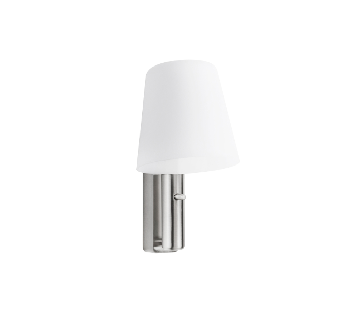 Nado satin nickel LED wall light & reading spotlight with opal shade ID 9343
