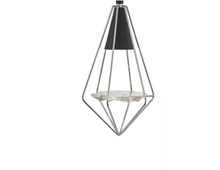 Torridon Singler Pendant In Black & Chrome With Glass Feature - 9503