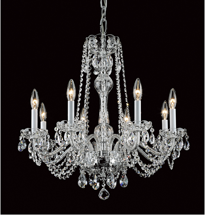 Georgian Strass Crystal 8 Lamp 64cm Chandelier - ID 6466