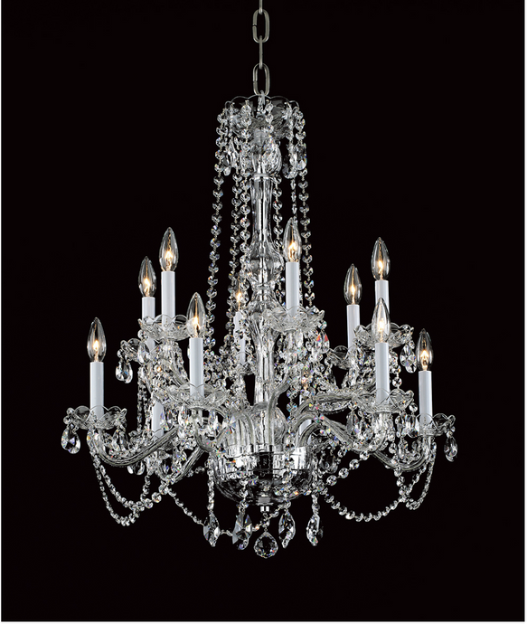 Georgian Strass Crystal 12 Lamp 67cm Chandelier - ID 9701