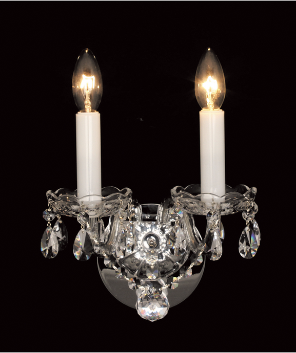 Georgian Strass Crystal Two Arm Wall Light - ID 9705