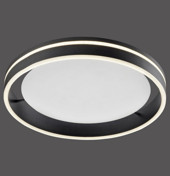 Dingwall Circular 59cm Remote Controlled LED Flush Ceiling Light In Brushed Anthracite Finish - ID 9788