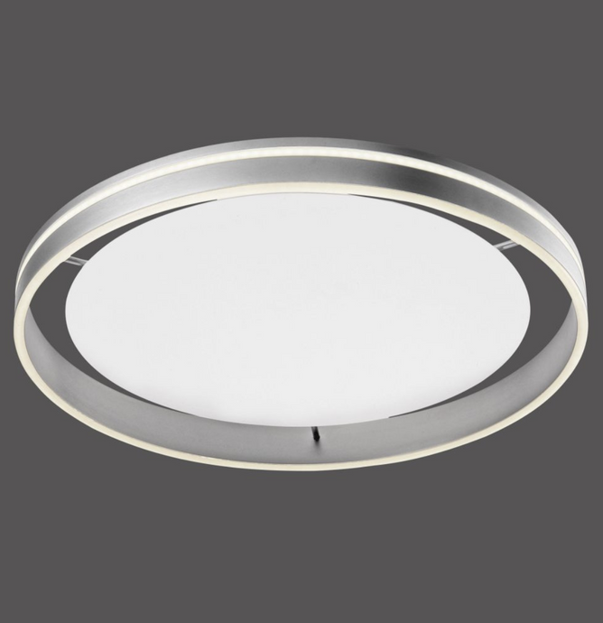 Dingwall Circular 59cm Remote Controlled LED Flush Ceiling Light In Brushed Steel Finish - ID 9789
