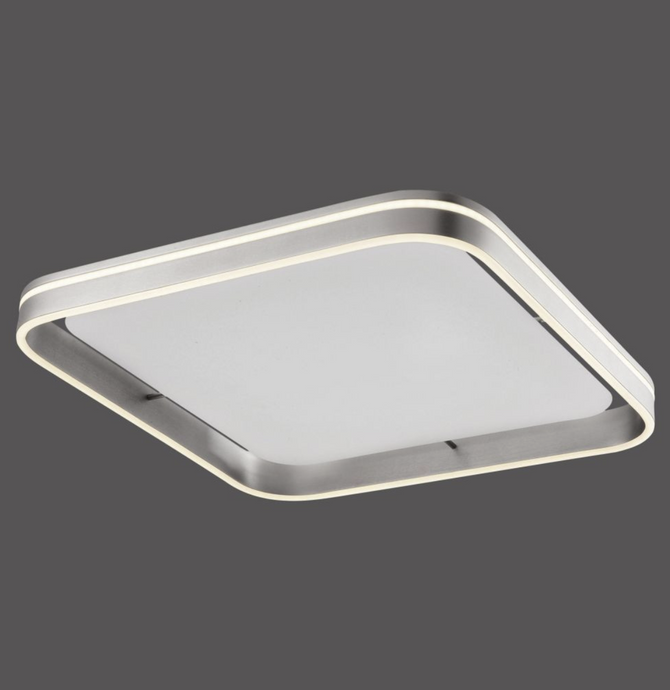 Dingwall Square 59cm Remote Controlled LED Flush Ceiling Light In Brushed Steel Finish - ID 9794