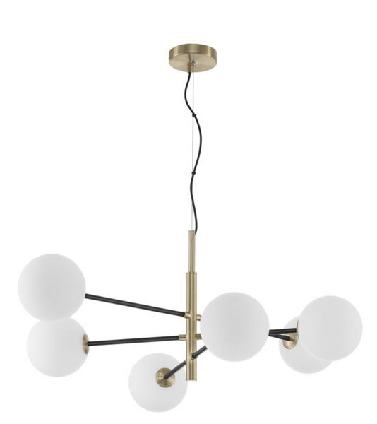 VIT Satin Brass & Black Rod 6 Arm Globe Chandelier -  ID 9951