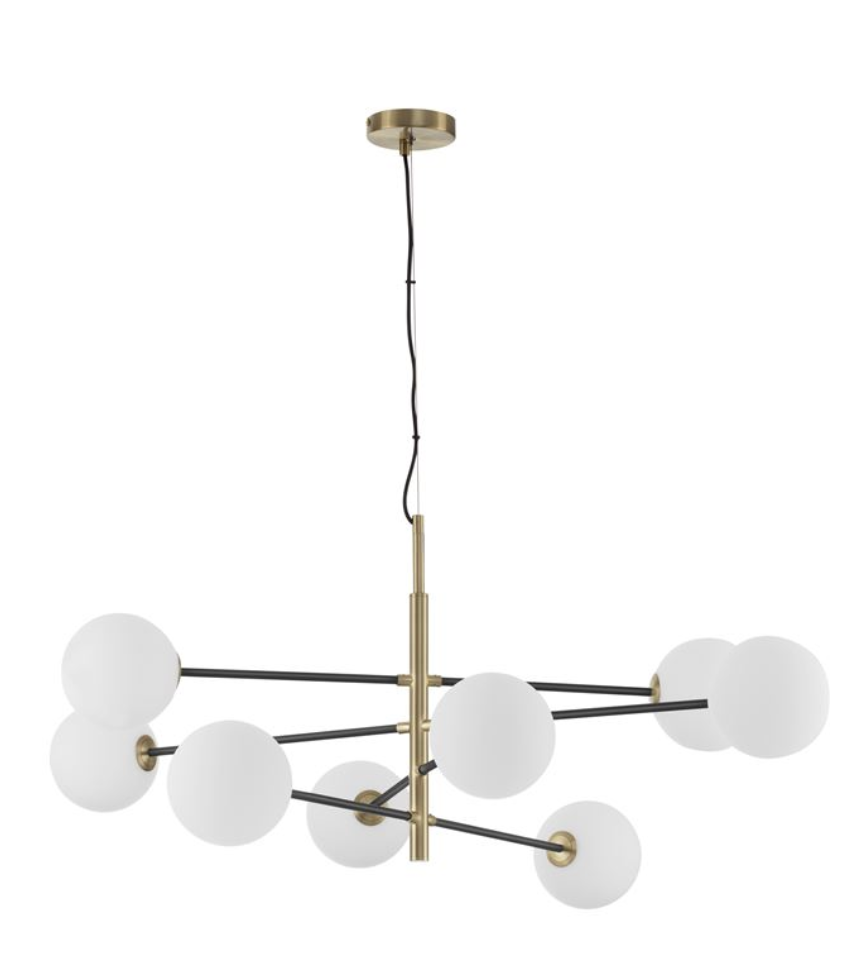 VIT Satin Brass & Black Rod 8 Arm Globe Chandelier -  ID 9952