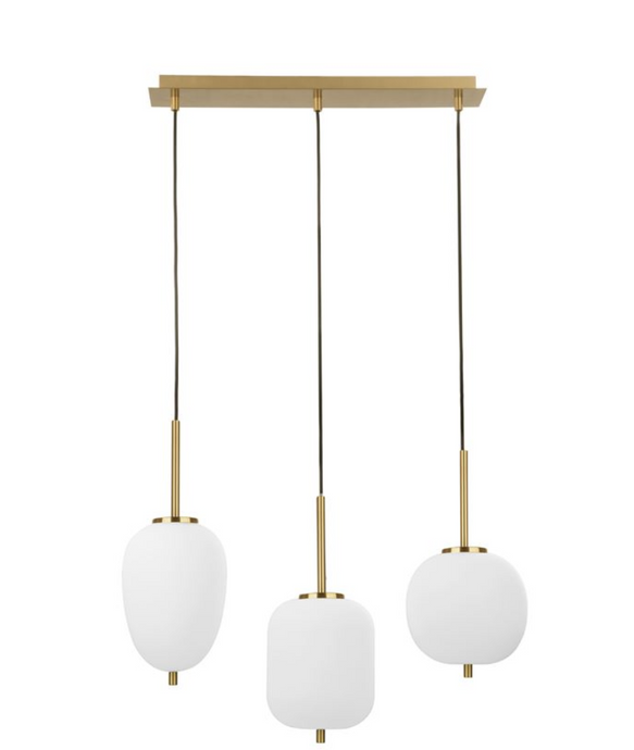 LAT Brass & Opal Glass Linear Triple Pendant  -  ID 9953