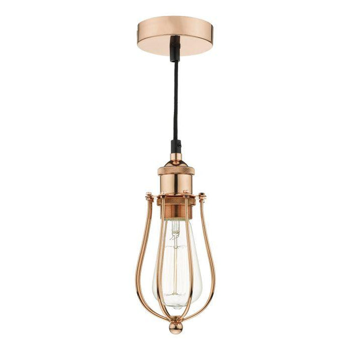 Northolt One Lamp Industrial Pendant In Copper- ID 8657