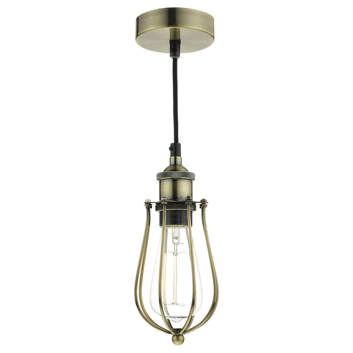 Northolt One Lamp Industrial Pendant In Antique Brass- ID 8658