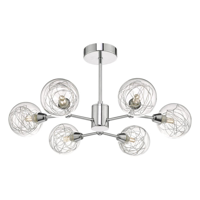 6 Lamp Semi Flush Polished Chrome & Glass Ceiling Light - ID 8449