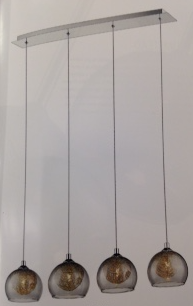Smoked Grey Glass & Aluminium Pendant 4 Light Linear Bar Pendant - ID 8634