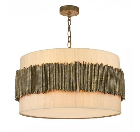 Willow Pendant With Taupe Silk Shade (other shade colours available) - ID 5640
