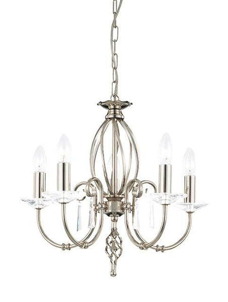 Aegean 5Lt Chandelier Polished Nickel - London Lighting - 1